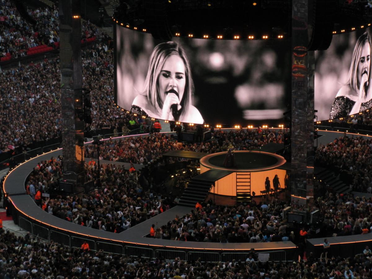 Adele performing at Wembley Stadium. Jess Holt. Kettle Mag.