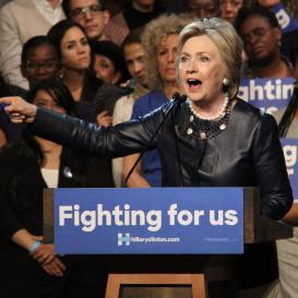 Hillary Clinton speaking at the Apollo Theatre