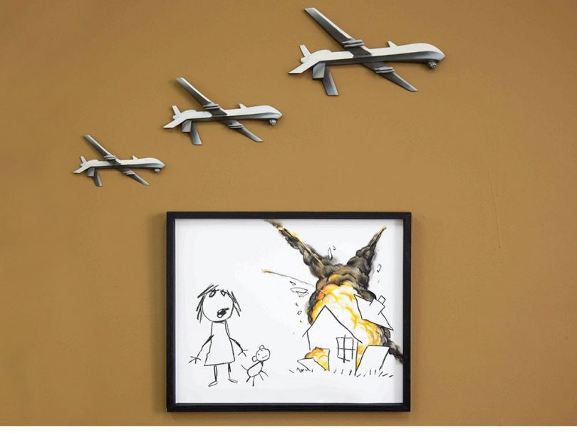 Civilian Drone Strike exhibits three drones bombing a house while a child and her dog look in affliction